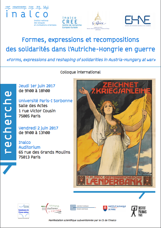 Forms, expressions and reshaping of solidarities in Austria-Hungary at war @ Université Paris-IV Sorbonne - Salle des Actes | Paris | Île-de-France | France
