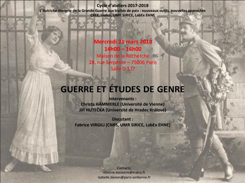 La Guerre et les études de genre @ Maison de la recherche - salle D 117 | Paris-6E-Arrondissement | Île-de-France | France