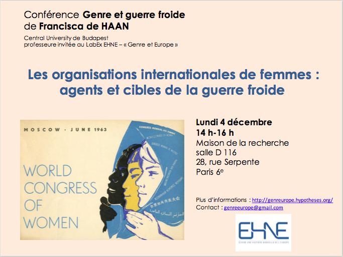 Les organisations internationales de femmes : agents et cibles de la guerre froide @ Maison de la recherche, salle D116 | Paris-6E-Arrondissement | Île-de-France | France