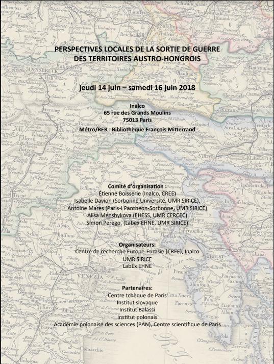 Perspectives locales de la sortie de guerre des territoires austro-hongrois @ Inalco | Paris-13E-Arrondissement | Île-de-France | France