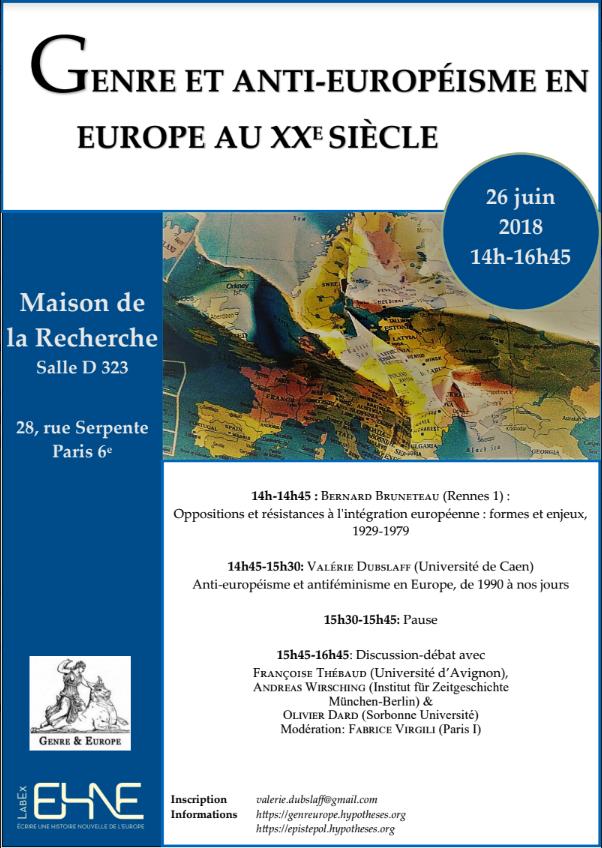 Genre et antieuropéisme en Europe au XXe siècle @ Maison de la Recherche - salle D323 | Paris-6E-Arrondissement | Île-de-France | France