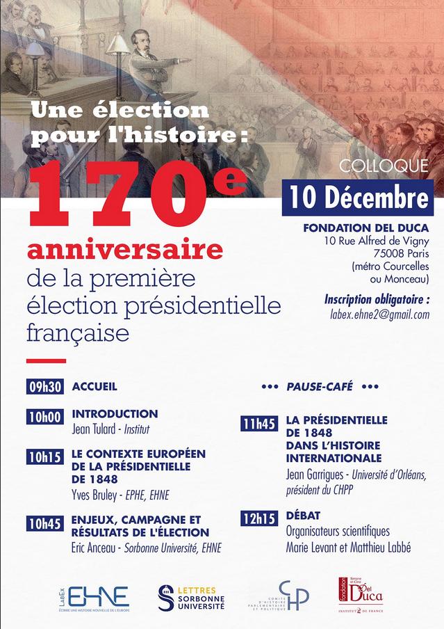 Une élection pour l'histoire : 170e anniversaire de la première élection présidentielle française @ Fondation del Duca | Paris | Île-de-France | France