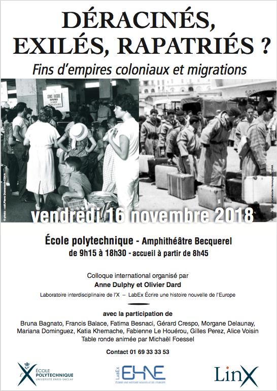 Déracinés, exilés, rapatriés ? Fins d'empires coloniaux et migrations @ École polytechnique - Amphithéâtre Becquerel | Palaiseau | France