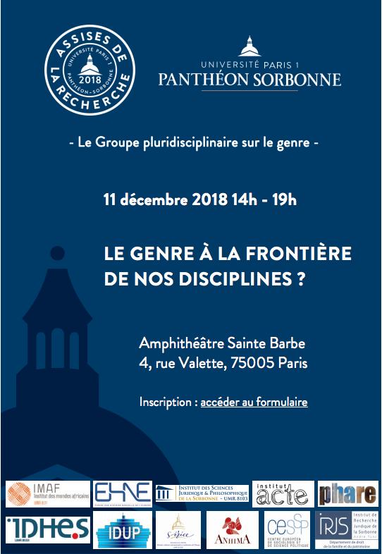 Le genre, à la frontière de nos disciplines ? @ Amphithéâtre Sainte Barbe | Paris | Île-de-France | France